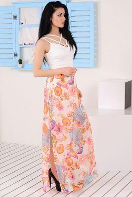 Mezuniyet ve Balo Elbise Modelleri, En Trend Düğün Nişan Abiye ve Elbiseleri En İyi Fiyatlarla! Detayları Göster Turuncu Çiçek Desenli Beyaz Elbise