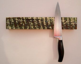 Kitchen Knife Holder Wood Knife Rack Wall By CattailsWoodwork