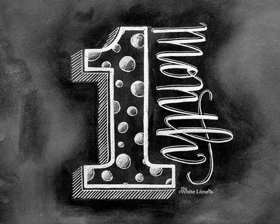 •The Listing •  ~One Month~ What an adorable and perfect way to track the monthly milestones of your babys first year! This would also be a great gift for the mama to be! To create the design, I drew the illustration and wording on a chalkboard with nothing more than chalk. Then, I digitally converted it, so I could offer it to you as a printable image! This method maintains the authentic appearance of a real chalkboard drawing, smudge free!    *This listing is for the ONE MONTH sign only…