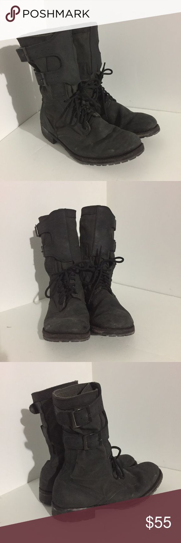 """Divergent Stunt Boots Worn for stunts in the movie Insurgent of the Divergent movie series. Made to look worn (movie Modified). They say """"Pollux Stunt"""" on the inside in permanent marker. They look black in the pics, but the canvas part is actually a military green. No size listed, but they appear to be a men's 10. Shoes Boots"""