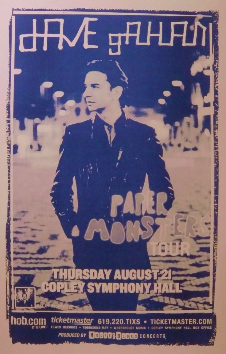 """Dave Gahan 2003 """"Paper Monsters Tour"""" Concert Poster Depeche Mode 80's New Wave   eBay"""