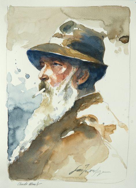 Calude Monet. Une série de portraits à l'aquarelle en hommage aux grands artistes du 19 ème au 20 ème siècle. Le lien vers mon blog : www.humericbox.com