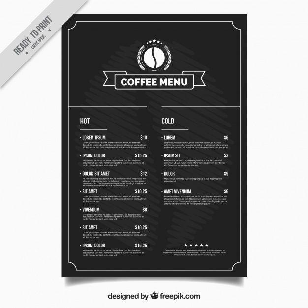 шаблон меню магазин кофе Бесплатные векторы