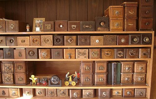 Upcycled vintage sewing machine drawers