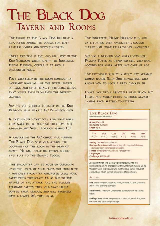 The Black Dog Dungeons And Dragons Homebrew D D Dungeons And Dragons Dnd Monsters