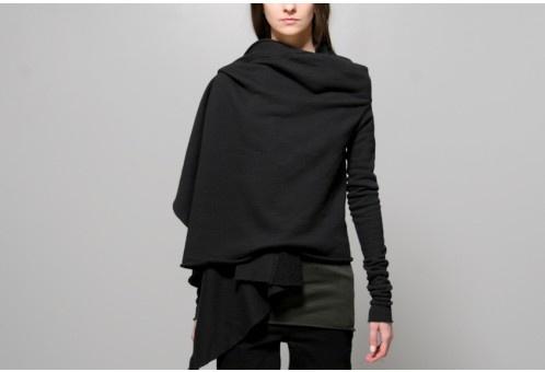 Women's l/s wrap black, OAK NYC