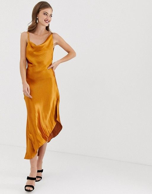 81e3ff79c7 DESIGN midi slip dress in high shine satin in 2019 | Editor Wish ...