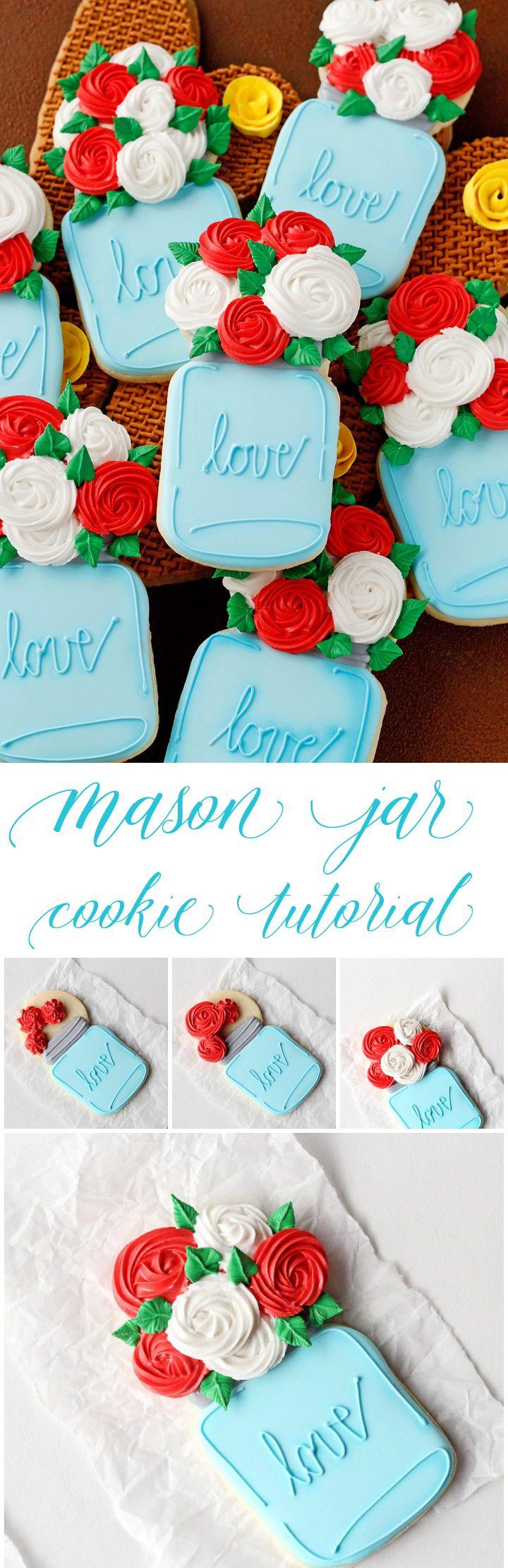 Cómo decorar galletas Mason Jar con una forma de Video |  El panadero Bearfoot