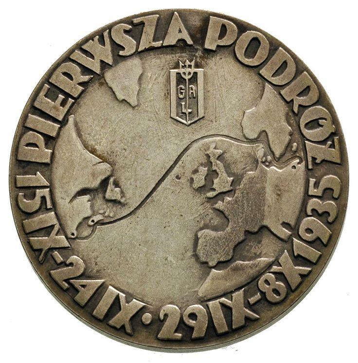 Medali wybity z okazji pierwszej podróży statku M/S Piłsudski, Aw: Statek na morzu i napis w otoku MS PIŁSUDSKI, Rw: Zarys kontynentów z zaznaczeniem trasy pierwszej podróży z Gdyni do Ameryki, u góry znak GAL, napis w otoku PIERWSZA PODRÓŻ 15 IX - 24 IX 29 IX - 8 X 1935