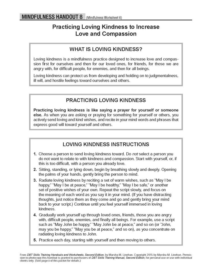 DBT SelfHelp Resources Practicing Loving Kindness to
