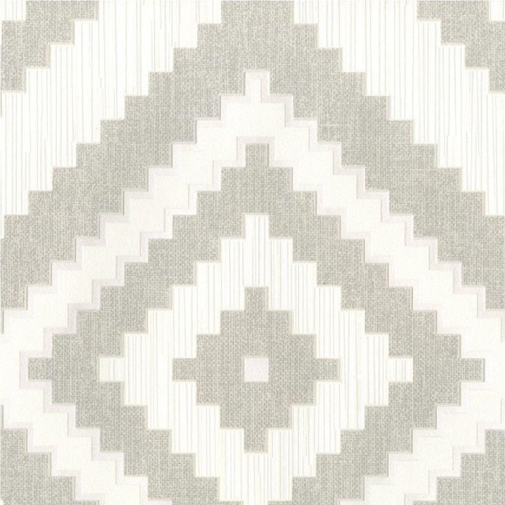 Muriva Eton Aztec Diamond Textured Blown Vinyl Wallpaper Grey J47819