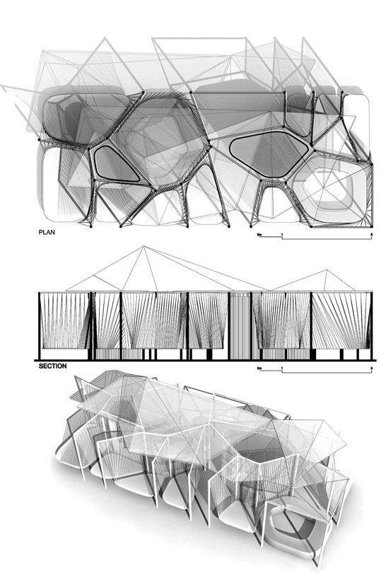 Voronoi is a temporary pavilion for relaxation in the context of Kernel Festival 2011