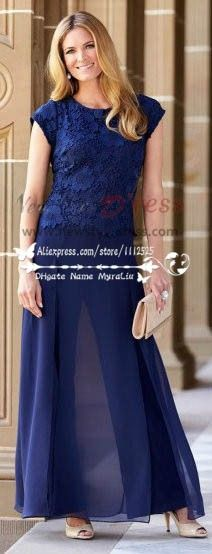 Royal Blue lace in fashion chiffon pant suits for mother of the bride trousers outfits