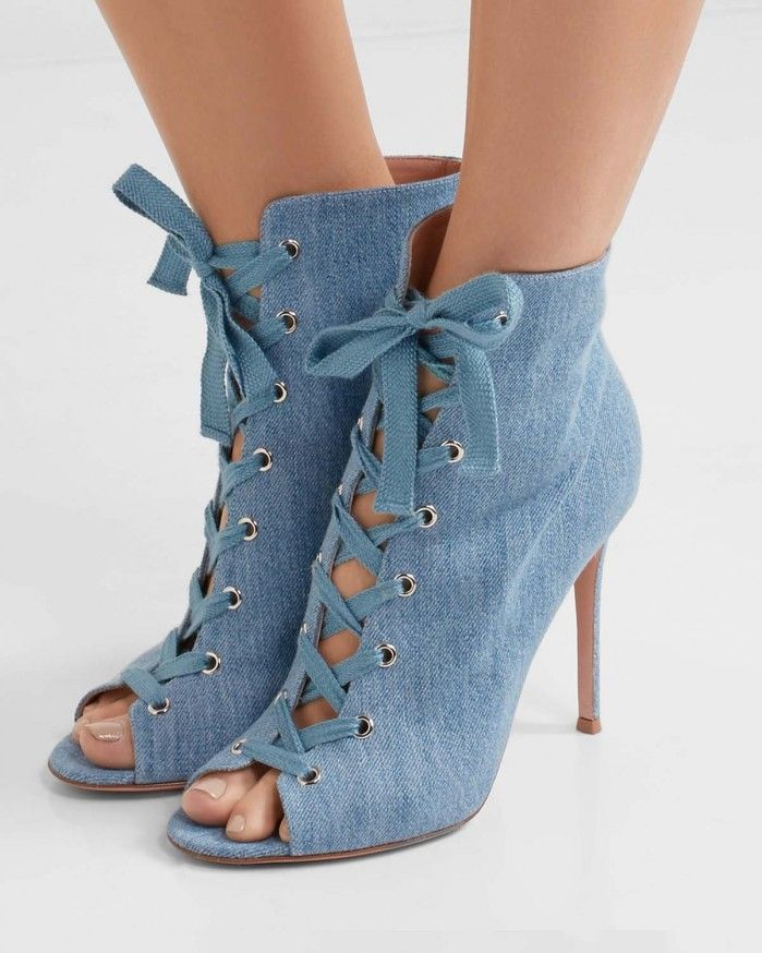 GIANVITO ROSSI Lace-up denim boots | Buy ➜ https://shoespost.com/gianvito-rossi-lace-denim-boots/