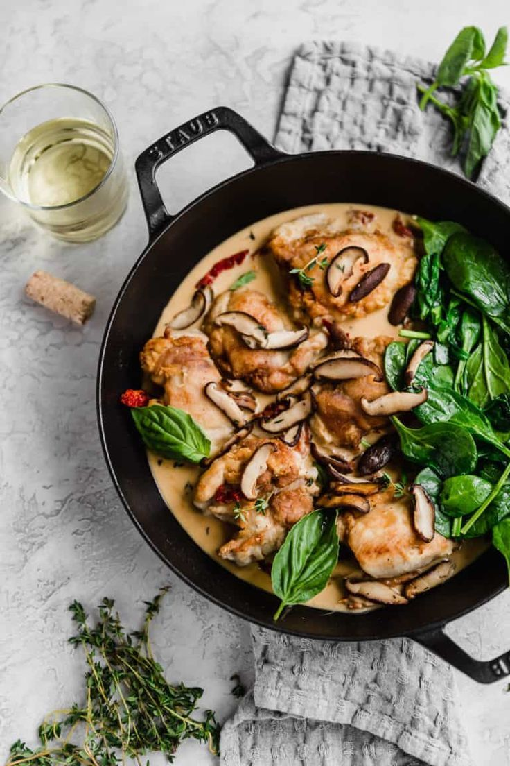 Creamy Chicken With Mushrooms Tomatoes And White Wine Sauce Recipe With Images Stuffed Mushrooms White Wine Sauce Mushroom Chicken