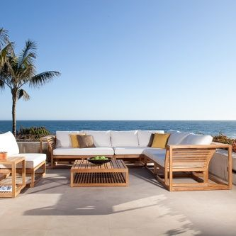 The Maya Collection Is An Outdoor Teak Sectional Sofa Made Up Of Sturdy  Teak Modular Sections For Both Outdoor And Indoor Environments.