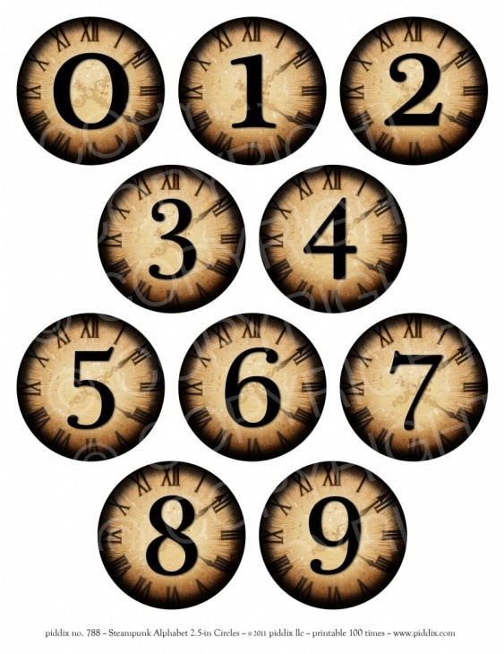 788d. Steampunk Numbers 2.5 inch circles More