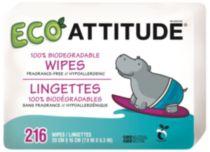 ATTITUDE -Bébé écolo lingettes 100% biodegradables recharges, 216 lingettes