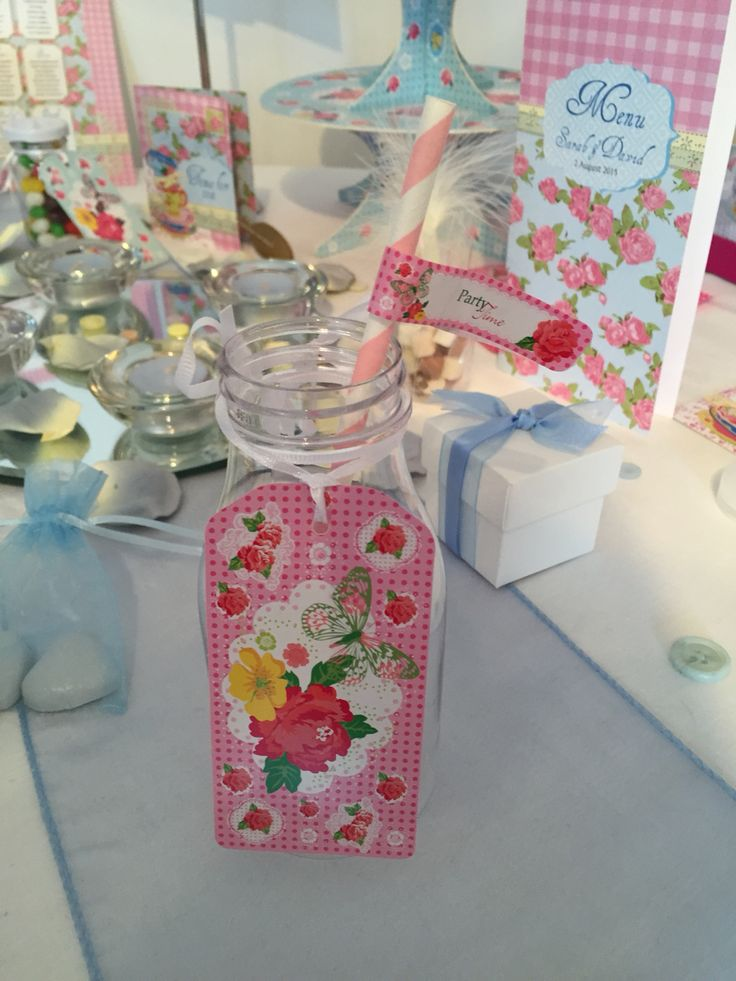 Time for tea collection. New milk bottles, straws and straw tags, perfect for vintage weddings and celebrations. www.fuschiadesigns.co.uk