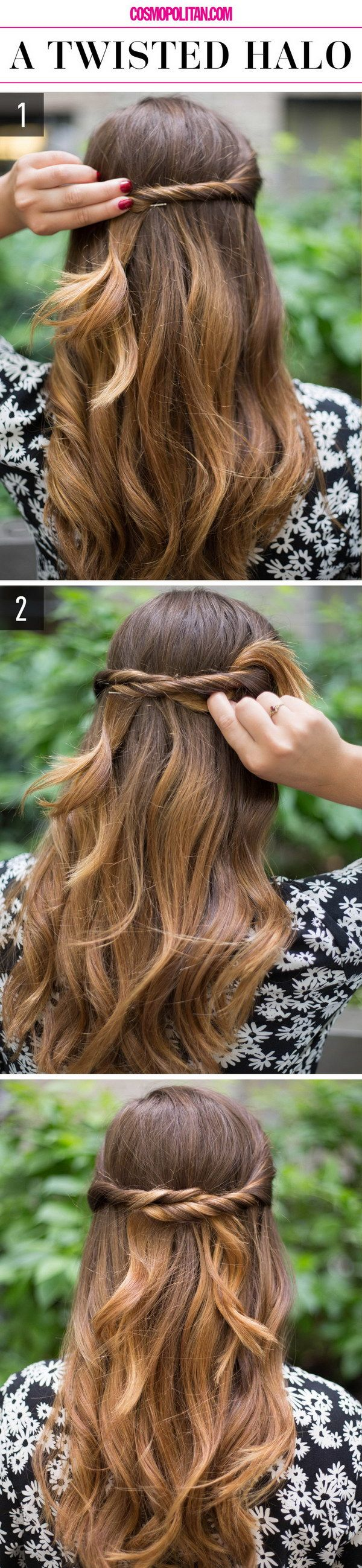 Half Up Half Down Hairstyle: Twisted Halo.