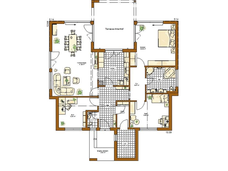 55 best Bungalow images on Pinterest Home ideas, New homes and - grundriss küche mit kochinsel