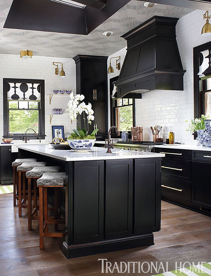 Tour This Art Deco Inspired Kitchen: Http://www.traditionalhome. Black  Kitchen CabinetsShaker ...