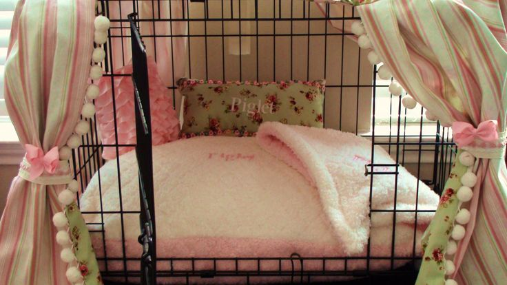 THE most awesomist dog crate bedding in the WORLD.....Man, If I could just get Presley to leave the balls alone......Shabby Chic Dog Crate Ensemble (6 pieces) Pink & Cream (Free Custom Embroidery). $105.00, via Etsy.