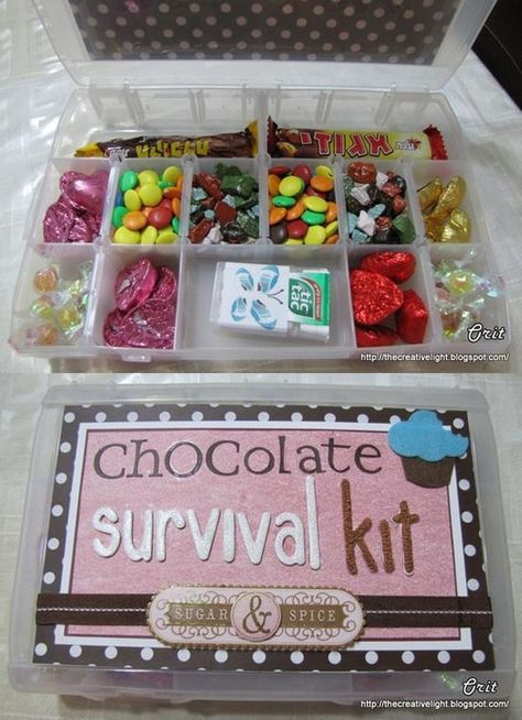 chocolate survival kit!!! Someone needs to make me this LOL