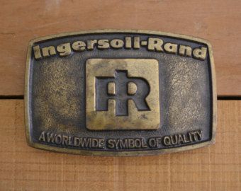 Vintage 1976 Ingersoll-Rand Brass Belt Buckle A Worldwide Symbol Of Quality, patina, industrial, transportation, locomotive tools drill oden by vintagecornerbazaar. Explore more products on http://vintagecornerbazaar.etsy.com