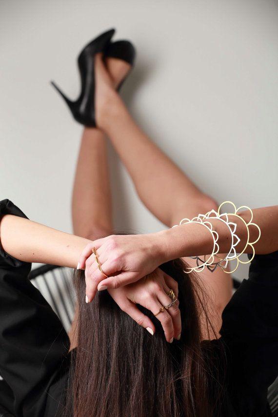 Modular Chic Bracelet. Multiple Playful Bangle Set. by LakaLuka