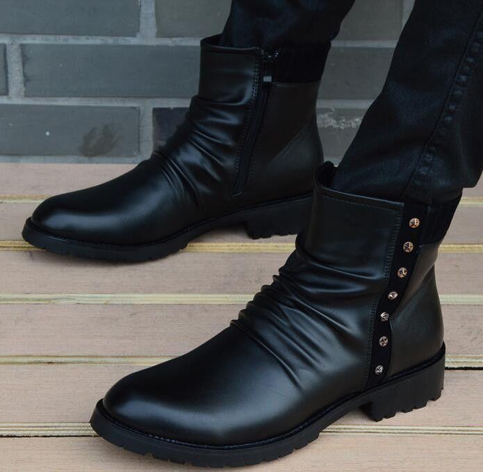 Botas Genuinas de invierno con cuero impermeable. Zapatos calientes hasta tobillo estilo de los hombres Martin