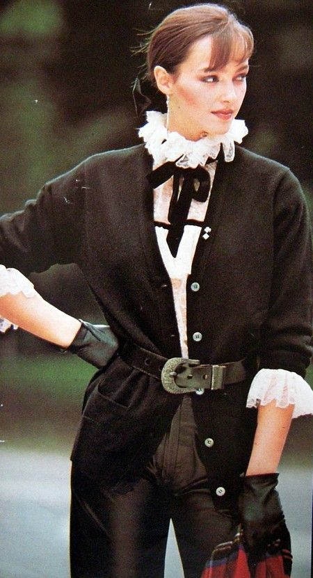 The leather pants of Agnes B. harmonizes with coat  by Chantal Thomass 1980