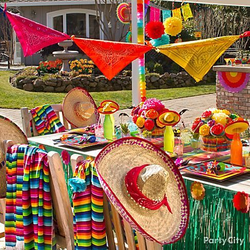 Mexican Fiesta Party Ideas ¡Arriba!  Spice up your Cinco de Mayo with DIY decor, sombreros & 'staches. 14 Cinco de Mayo Party Ideas from Party City