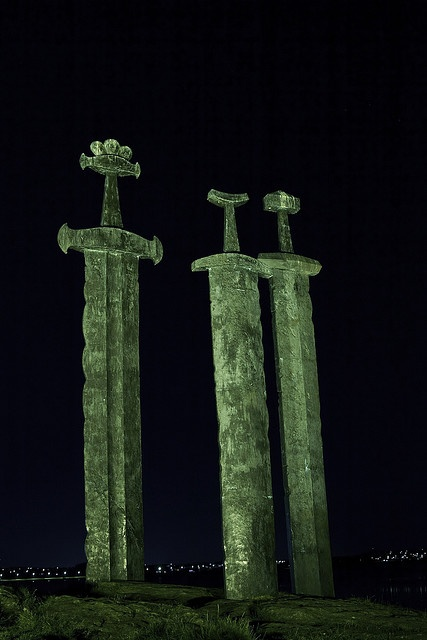 """""""Swords in Rock"""". It was here Harald Hårfagre fought a battle that united Norway into one kingdom in 872 AD. The monument represents peace, unity and freedom. The Viking swords' hilts are modelled on swords"""