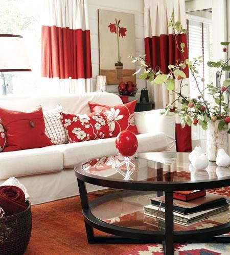White Room Design With Red Accents