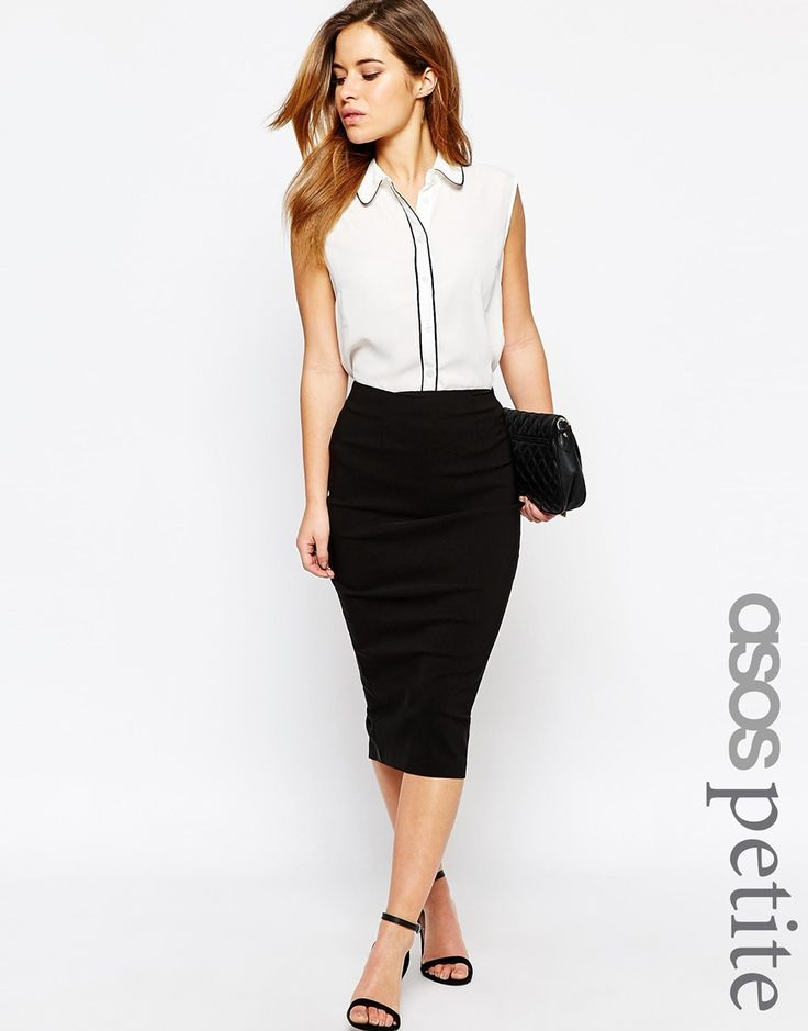Image 1 of ASOS PETITE High Waisted Pencil Skirt