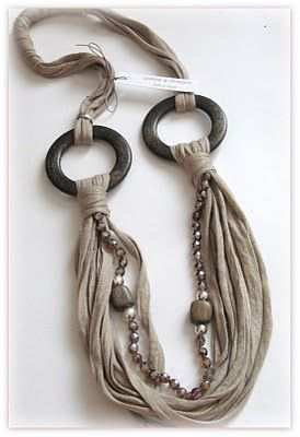 pietre e dintorni: anelli legno e fettuccia color cammello - mixed media necklace - Crafting By Holiday