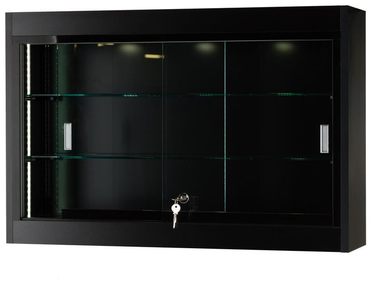 Wall Display Case w/ Adjustable Shelves, Mirrored Back & Halogen Top Lights