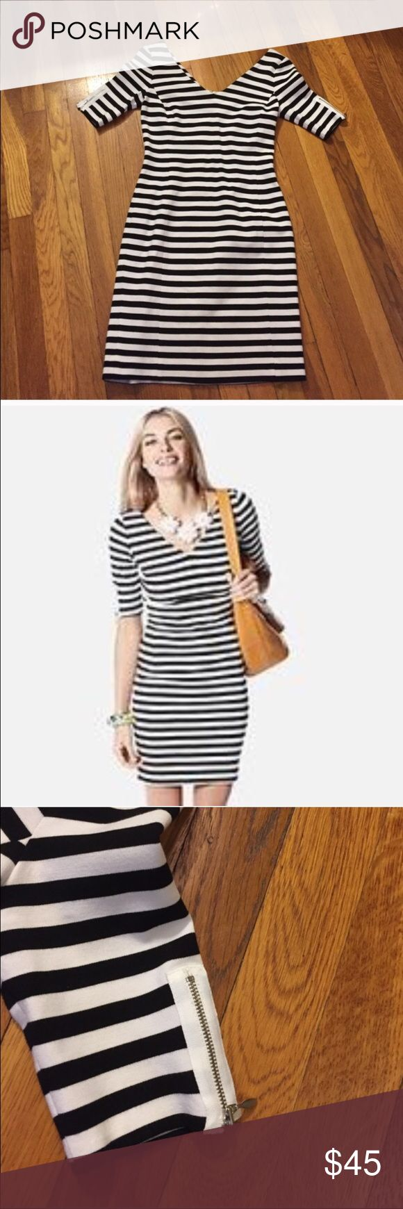 Striped BodyCon Dress Adorable black and white dress with zippers on the sleeve. Vneck in front and back. Such a classic lovely look! Banana Republic Dresses Mini