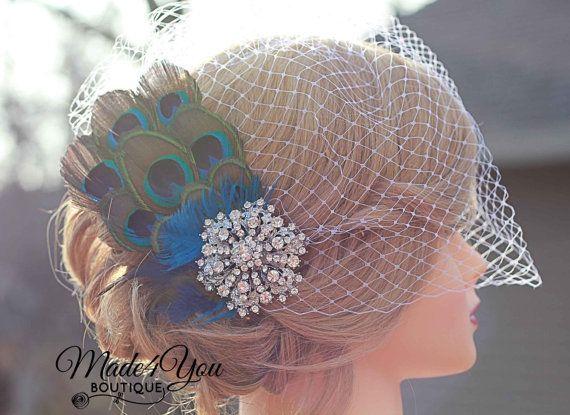 Peacock Wedding Fascinator-Birdcage Wedding Veil-Bridal Headpiece