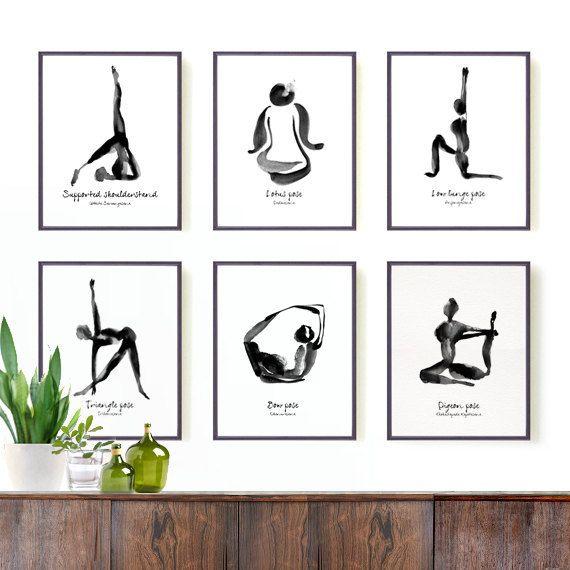 Yoga Wall Kunst • Yoga • Yoga Poster • Yoga Dekor • Yogastellung drucken  Dieser Satz von 6 Drucke von Yoga-Pose waren Reproduktion von meinem original-Gemälde.  Diese Freiform und minimalistischen Stil Bilder geben eine anständige Note für Ihre Yoga-Raum oder in einem Bereich, wo Sie würde gerne eine einfache, aber inspirierend Element haben.  Diese Serie von schwarzen und weißen Yoga Pose Gemälde wurden von einer meiner Lieblings Künstler, Henri Matisse, ausgedrückt mit der orientalischen…