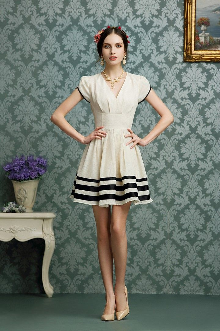Morpheus Boutique  - Off White V Neck Cap Sleeve Sailor Striped Pleated Dress