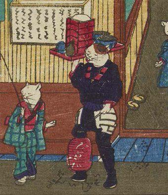 出前に行く猫。四代歌川国政「志ん板猫のそばや」より