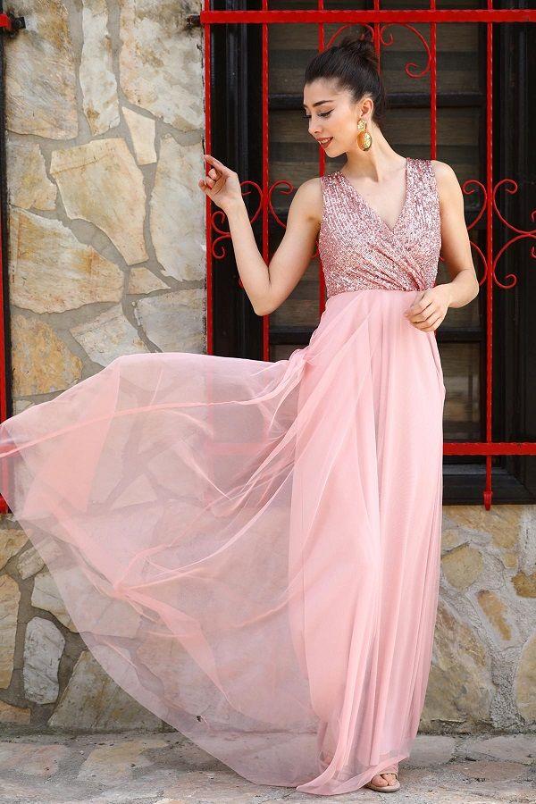 فستان سهرة وردي فاتح بترتر نسائي Evening Dresses Dresses Formal Dresses Long
