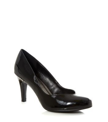 Wide Fit Black Patent Court Shoes