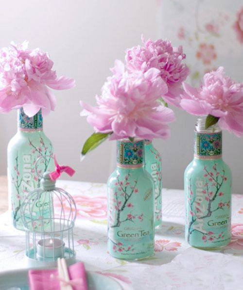 Arizona green tea bottles...perfect for peonies (or any flower)