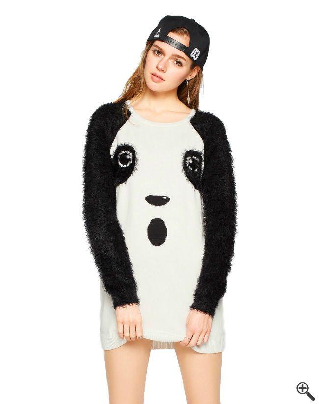Panda Outfit mit ausgefallene Kleidern in Weiß: +http://www.fancybeast.de/schoene-kleider/schoene-ausgefallene-kleider-weiss-kurz-panda-outfit/ #Kleider #Dress #Outfit #Panda #Ausgefallen #Fashion #Mode