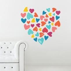 Cuori Cuori Cuori Hearts Hearts Hearts Wall Sticker Adesivo da Muro