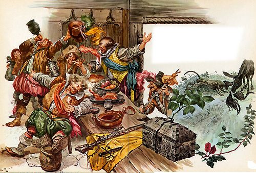 """Rino Ferrari: The Robbers' Feast from """"The Bremen Town Musicians"""" (circa 1969). Here's another spectacular spread fr..."""