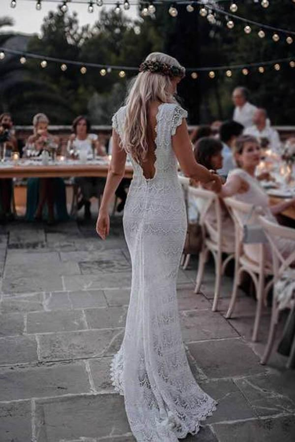 Lace Boho Mermaid Backless Cap Sleeve Bohemian Wedding Dresses ,MW265